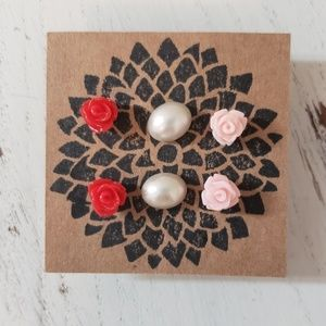 Cabochon Earring Set, Roses and Pearls